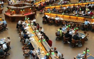 college, students studying, library