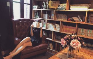 woman, private, library, books