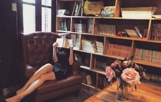woman, private, library, books
