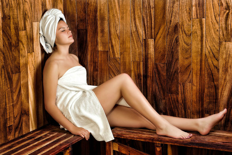 Spa, woman, relaxing, steam
