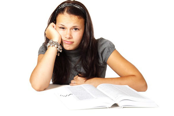 girl, college, study, books