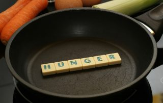 hunger spelled out, frying pan