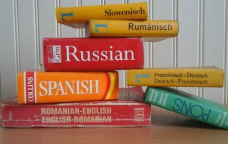 Foreign language books, dictionaries