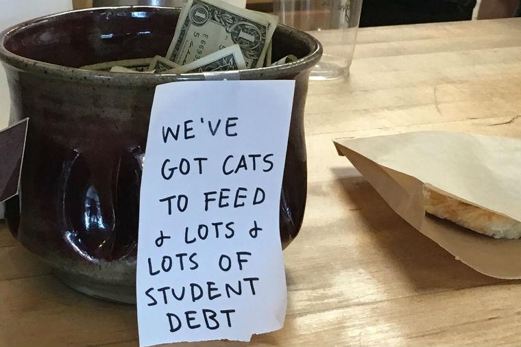 student debt, tip jar